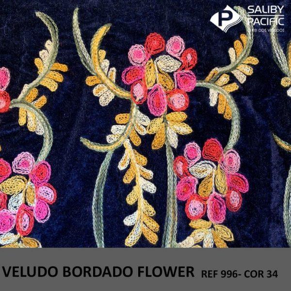 Imagem Veludo Bordado Flower referência 996 cor 34